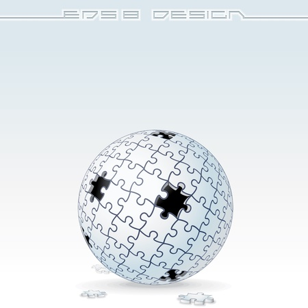 unfinished: Jigsaw Puzzle Globe Imagen vectorial Conceptual