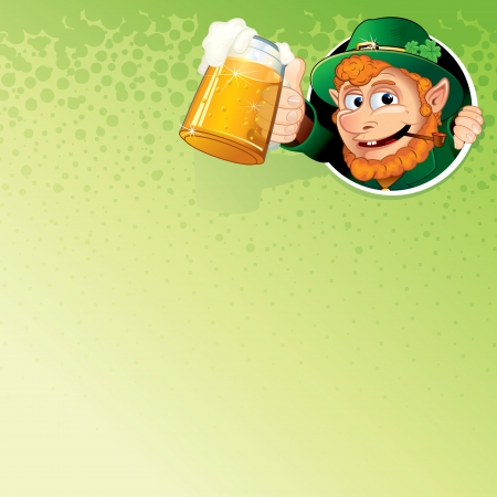 st patty day: Cartoon Leprechaun with Mug of Ale  Vector Image