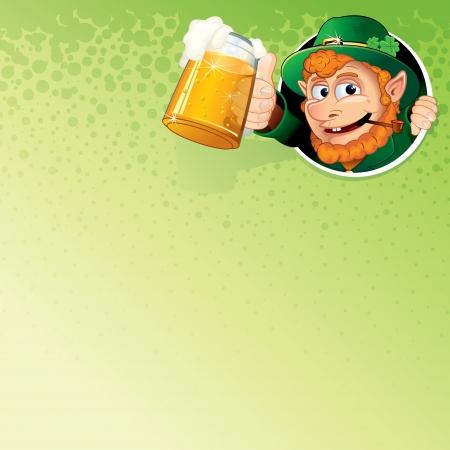 st  patty: Cartoon Leprechaun with Mug of Ale  Vector Image