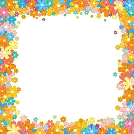 marguerite: Colorful Floral Frame  Flower Garland on White Illustration