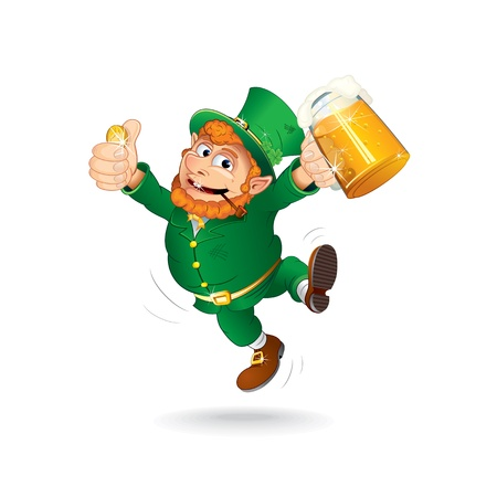 drunken: Cute Jumping Leprechaun  Isolated Cartoon Image