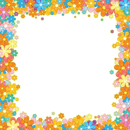 Colorful Floral Frame  Flower Garland on White photo