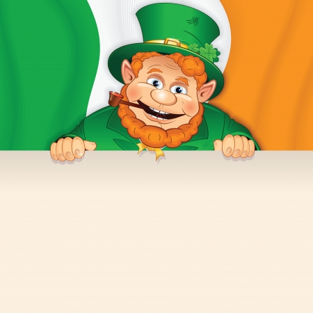 Cartoon Leprechaun with Sign over Irish Flag  photo