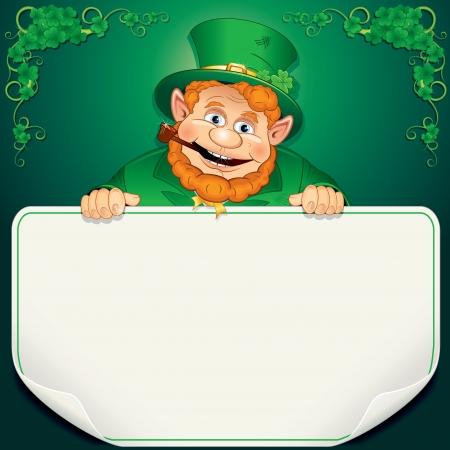 St Patrick s Day Card Kobold mit Blank Sign