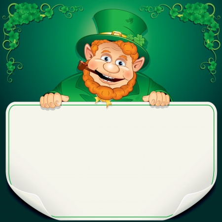 red clover: St  Patrick s Day Card  Leprechaun with Blank Sign Stock Photo