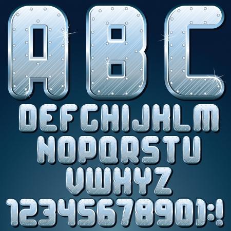 Silver Metallic Font  Set of Shiny Metal Letters Stock Photo - 18002279