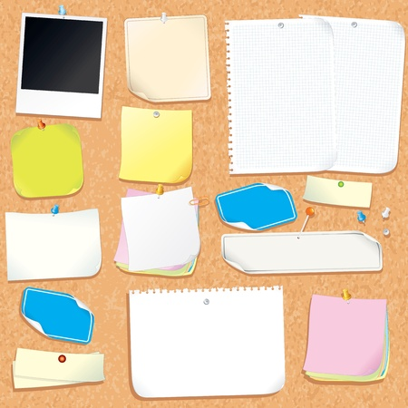 pin board: Office Cork Board With Blank Notes and Stickers
