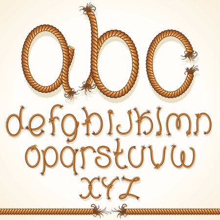 Rope Font  Set of Alphabet Letters from String photo