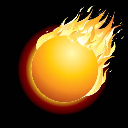 fireballs: Burning Comet on Dark Background  Vector Illustration