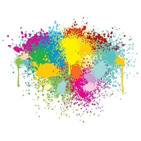 messy paint: Abstract Colorful Splashes  Vector Background