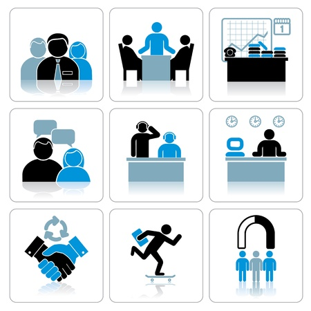 conference meeting: Management and Business Icons  Vector Set Illustration