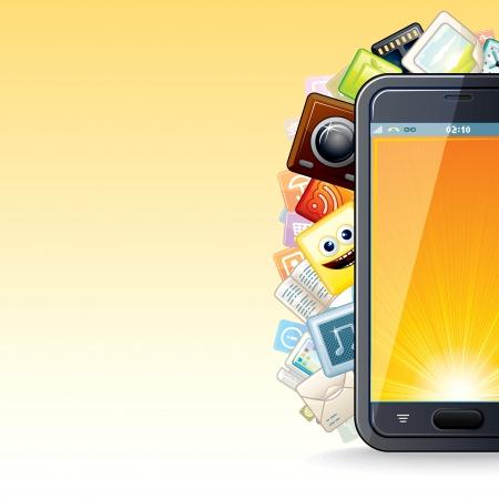 Smart Phone Apps Poster  Vector Illustration Stock Vector - 18230172