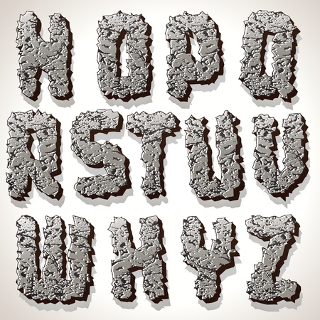 elements of nature: Alphabet Letter Made from Old Cracked Stone Vector