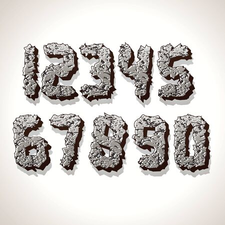 num: Numbers Made from Old Cracked Stone Vector Illustration