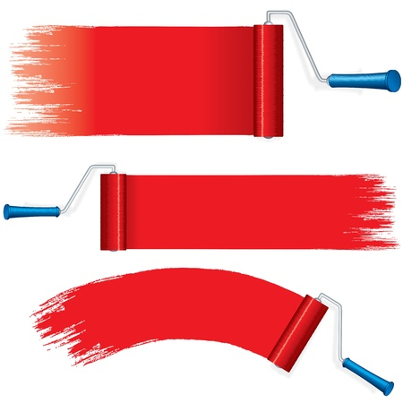 red paint roller: Red Roller Brush Painting Strokes on Wall  Vector