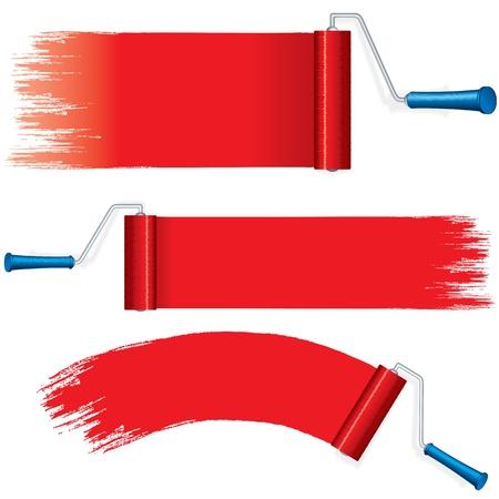 Red Roller pennellate pittura su muro Vector