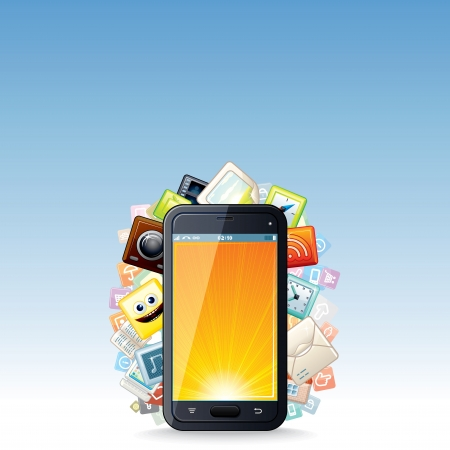 cellular: Touchscreen Smartphone with Cloud of Apps Icons Illustration