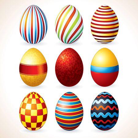 vector eggs: Easter Eggs Set. Vector Clip Art Illustration