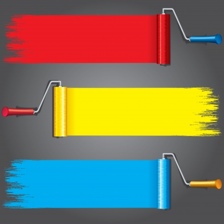 vibrant paintbrush: Paint Rollers with Various Paints on Wall  Vector