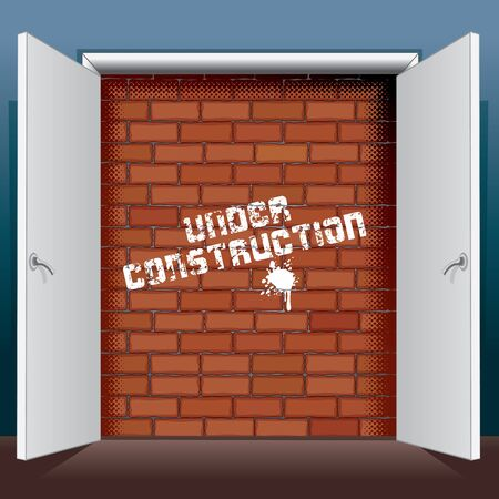 unavailability: Doors Open To A Brick Wall with Inscription Under Construction. Vector Illustration Illustration