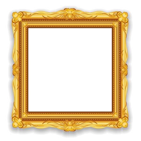 gold picture frame: Gold Vintage Frame Stock Photo
