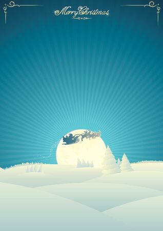 winter landscape: Christmas Card Template Stock Photo