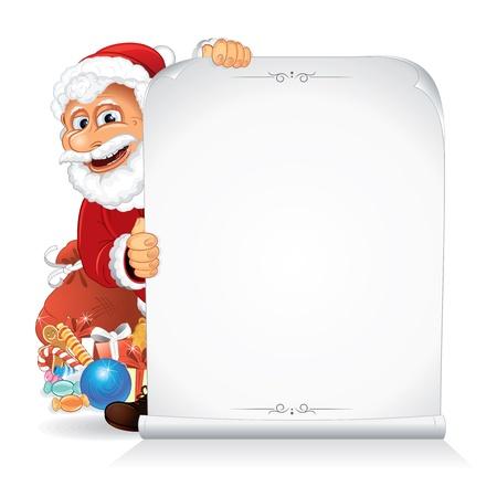 x mas card: Santa Claus Holding a Blank Paper Scroll