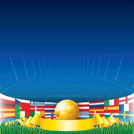 Football Background with European Flags photo