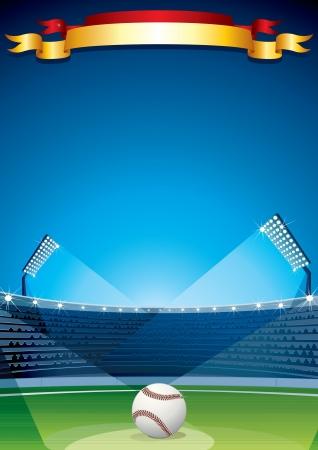 catcher baseball: Baseball Stadium Design Affiche Vecteur