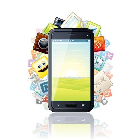 touchscreen: Smartphone, rodeado de Media Apps Vector Icons Vectores