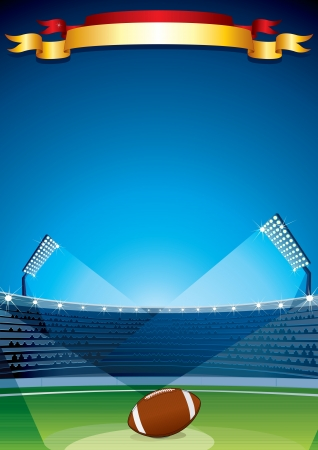 football fan: Rugby Stadium Vector Illustration