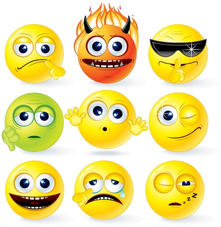 smiley pouce: Cartoon Smiley jaune