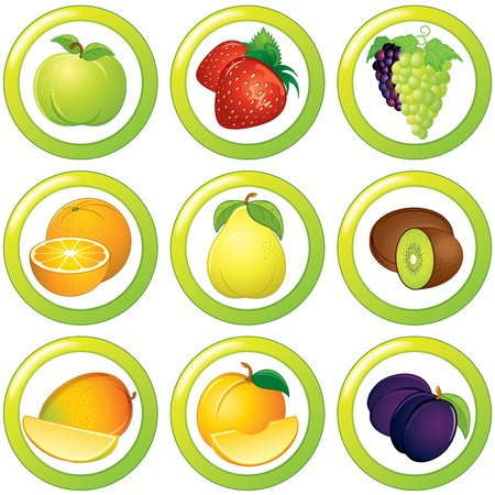 healthy meals: Fruits icon, label or sticker, colorful collection