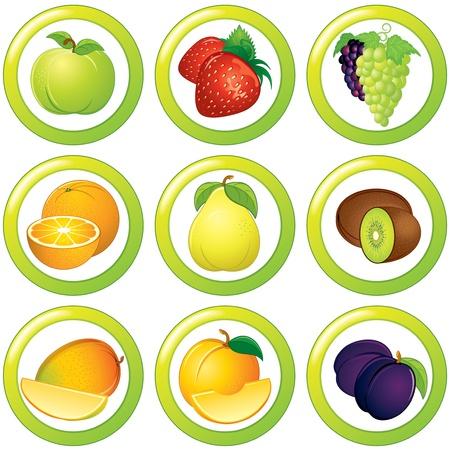 comidas saludables: Frutas icono, la etiqueta o pegatina, colorida colección Foto de archivo