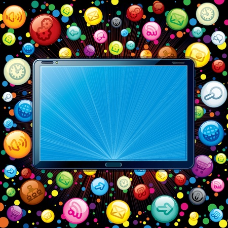 Tablet PC Icons Cloud Stock Photo - 18850862