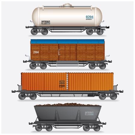 carreta madera: Colección de vagones de carga del tren, tanques, coches