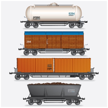 Collection of Train Cargo Wagons, Tanks, Cars  photo