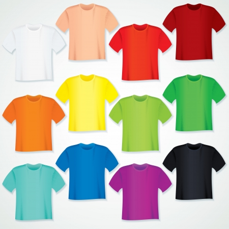 ordinary: Colorful Blank T Shirt Collection  Vector Template