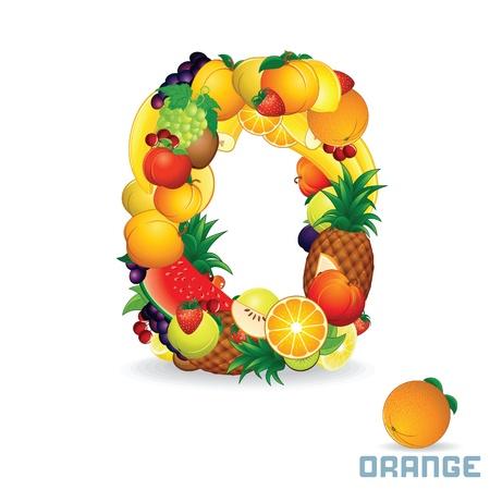 fig: Vector Alphabet From Fruit  Letter O