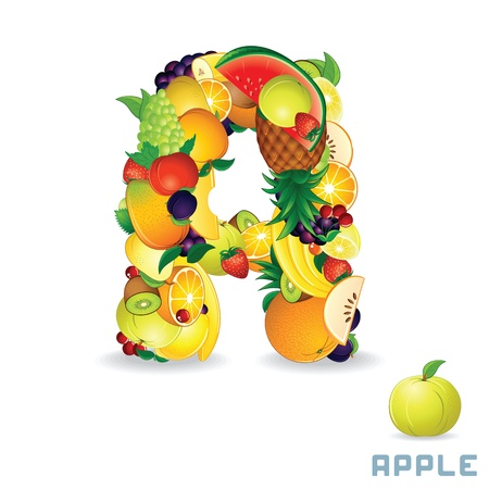 health education: Vector Alphabet From Fruit  Letter A