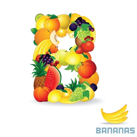 mixed fruit: Vector Alphabet From Fruit  Letter B