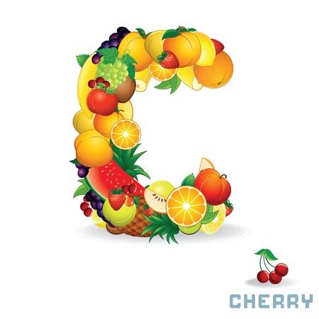 mix fruit: Vector Alphabet From Fruit  Letter C