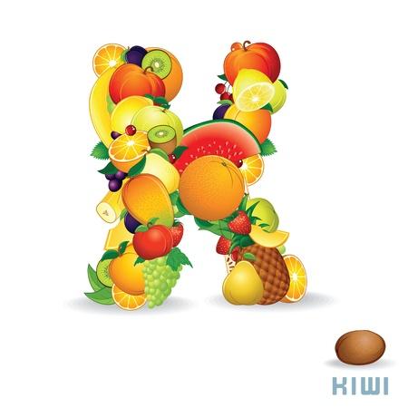 Vector Alphabet From Fruit  Letter K