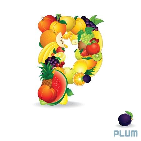 Vector Alphabet From Fruit  Letter P Illustration