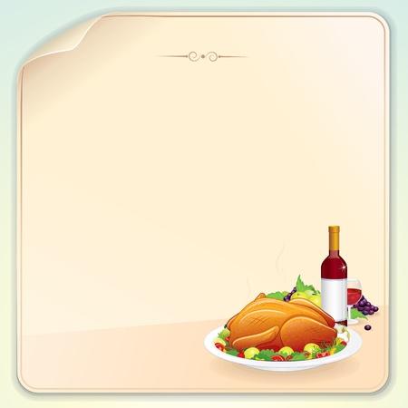 roasted turkey: Thanksgiving Greeting Card Illustration