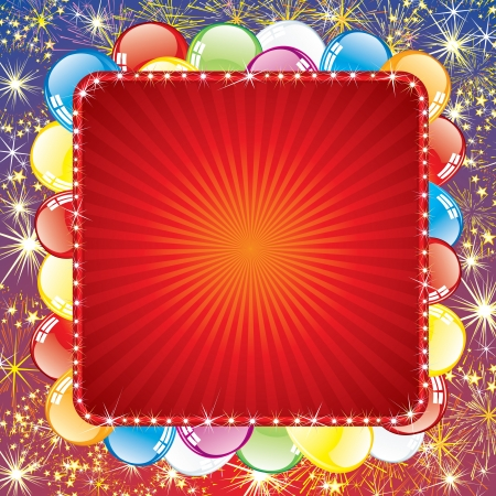 first birthday: Festive Background with Balloons and Firework