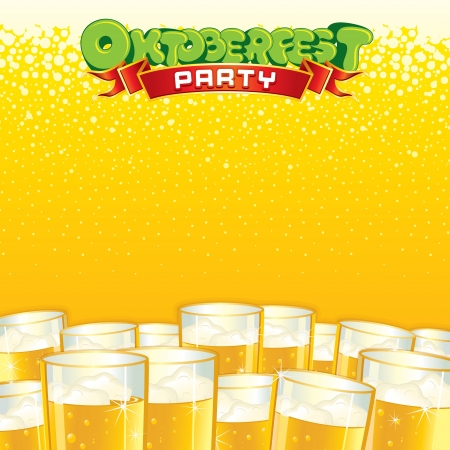 beer drinking: Beer Fest Background  Bright Vector Template