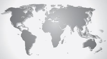 worldmap: 3D World Map Silhouette  Vector Graphics