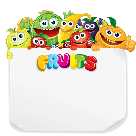 Cartoon Fruits with Blank Sign photo