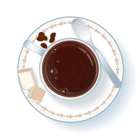 sugar spoon: Cup with Espresso Illustration